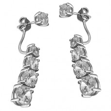 Cubic Zirconia Dangle Front to Back Earrings