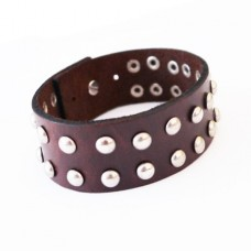 Men's Brown Leather Studded Cuff