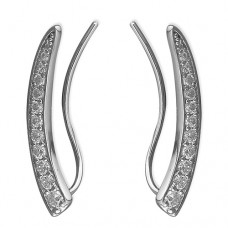 Cubic Zirconia Curved Sweep Up Earrings