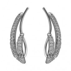 CZ Double Curve Sweep Up Earrings