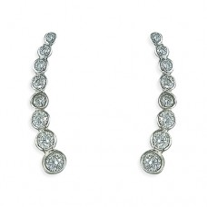 8 Cubic Zirconia Curve Sweep Up Earrings