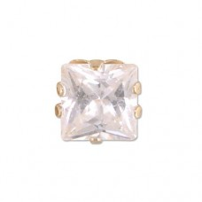 MEN's Single 5mm Square Cubic Zirconia Stud