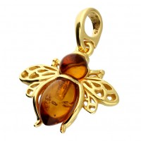 925 Sterling Silver Gold Amber Bee Necklace Pendant