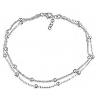 925 Sterling Silver Beaded Two Tiered Row Anklet
