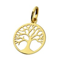 925 Sterling Silver Gold Tree of Life Pendant  - Small 16 mm