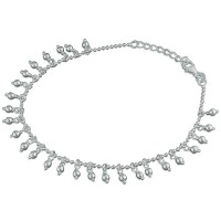 925 Sterling Silver Beaded Anklet with Bead Charms
