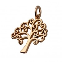925 Sterling Silver Rose Gold Tree of Life Pendant Charm