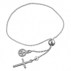 Slider Bracelet with Cross and Puffy Heart Charm