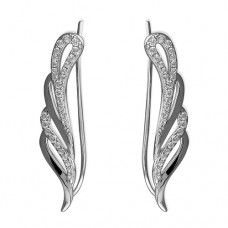 CZ Angel Wing Sweep Up Earring