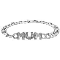 925 Sterling Silver Mum Curb Bracelet with Cubic Zirconia